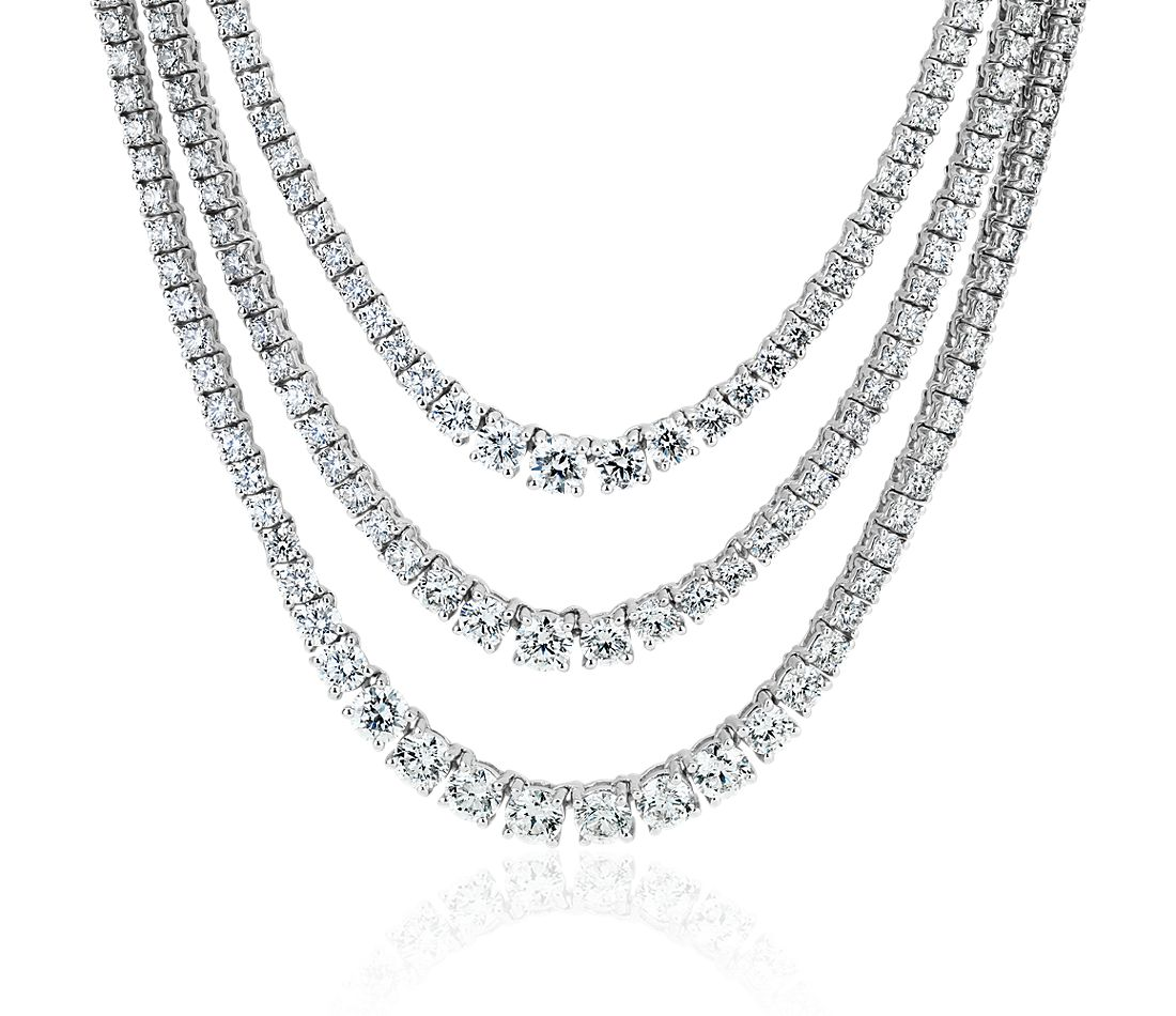 Diamond Graduated Triple Row Necklace in 14k White Gold (12 1/2 ct. tw.)