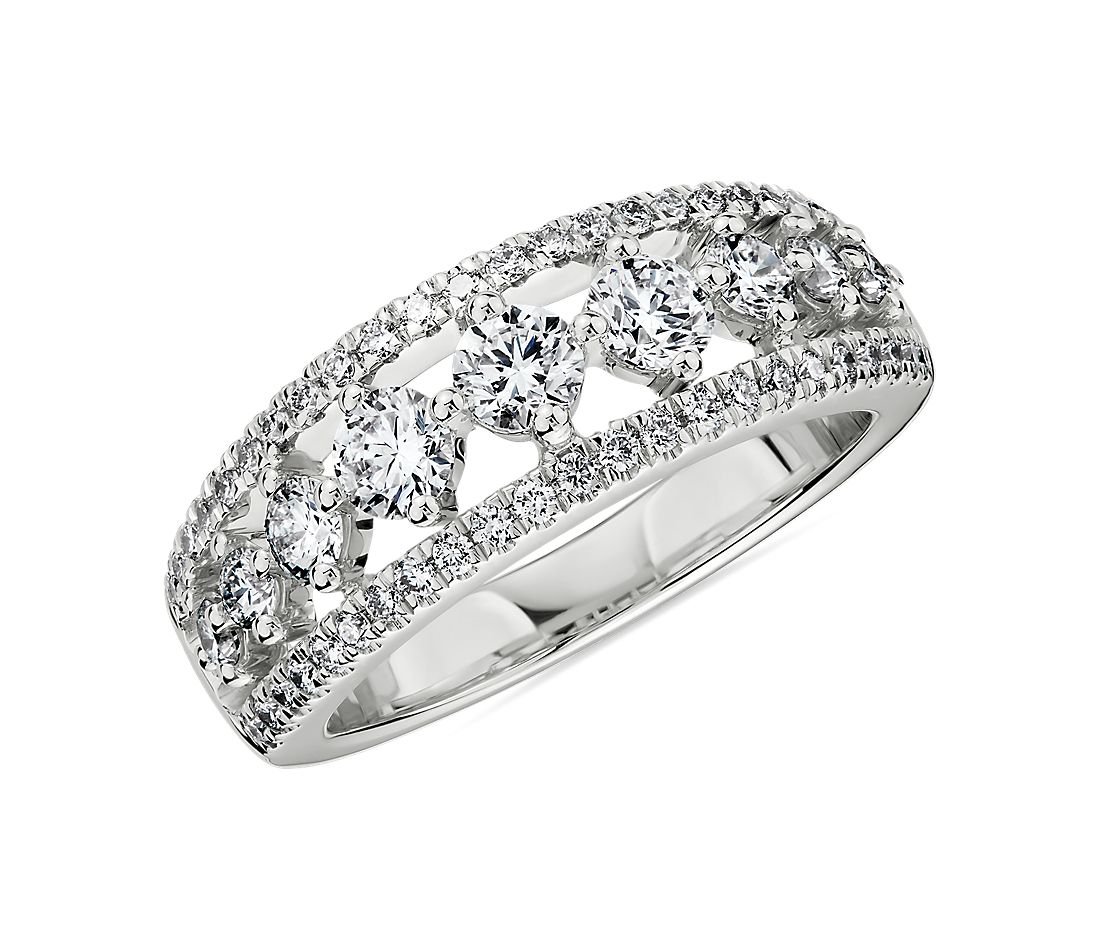 Diamond Graduated Triple Row Ring in 14k White Gold (1 ct. tw.)