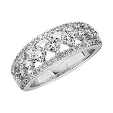 NEW Diamond Graduated Triple Row Ring in 14k White Gold (1 ct. tw.)