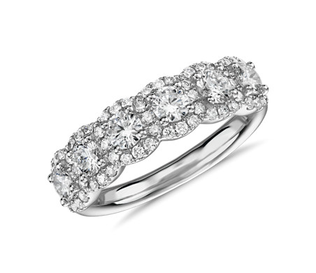 Diamond Halo Anniversary Ring in 18k White Gold (1 ct. tw.)