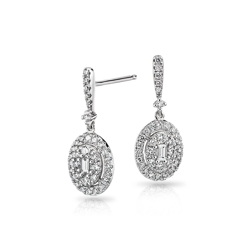 Diamond Halo Baguette Drop Earrings in 14k White Gold (3/4 ct. tw