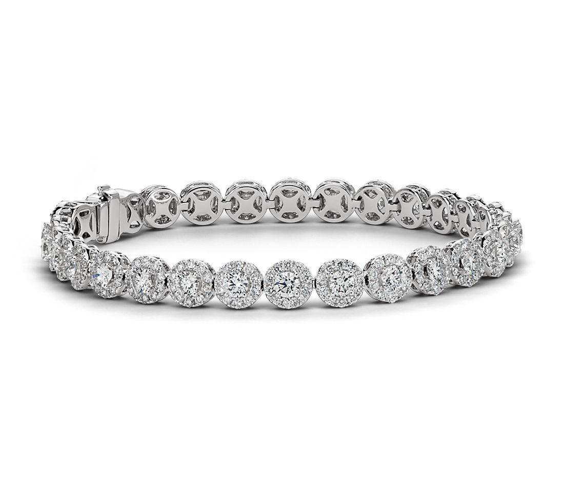 Diamond Halo Bracelet In 18k White Gold 8 Ct Tw Blue