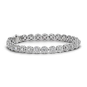 18k 白金钻石光环手链(8 克拉总重量)
