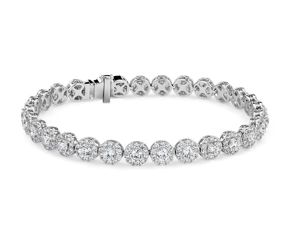 Bracelet en diamant halo en or blanc 18carats (8carats, poids total)