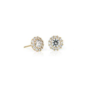 NEW Diamond Halo Earrings in 14k Yellow Gold