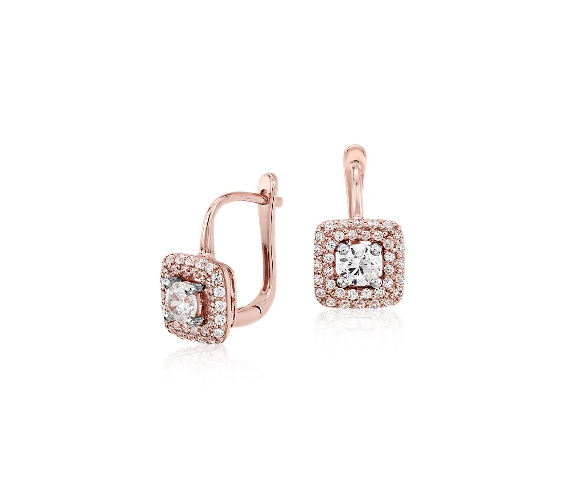 Diamond Halo Drop Earrings in 14k Rose Gold  (5/8 ct. tw.)