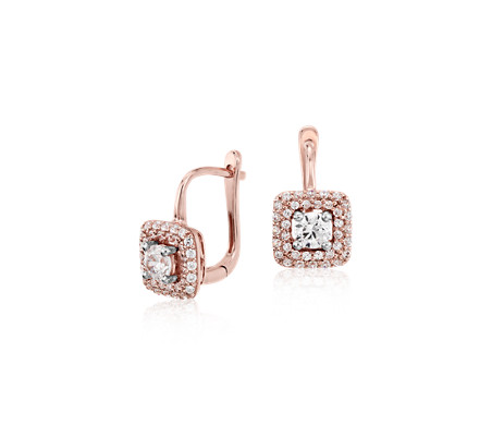Diamond Halo Drop Earrings in 14k Rose Gold  (3/5 ct. tw.)