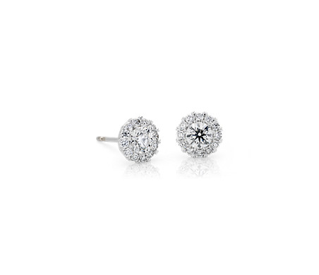 Blue Nile Diamond Trillion Halo Stud Earring in 14k White and Yellow Gold (1/3 ct. tw.) Zgco5dp