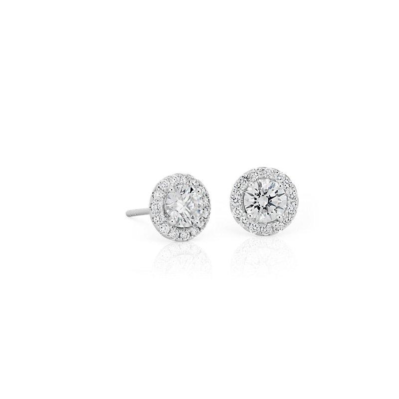 Diamond Halo Earrings in 14k White Gold (1 ct. tw.)