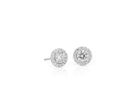 Blue Nile Diamond Circle Earrings in 14k White Gold (1/4 ct. tw.) eO46N