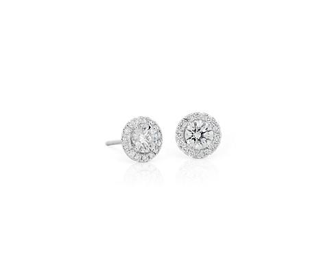 Aretes con Halo de diamantes en oro blanco de 14 k (1 qt. total)