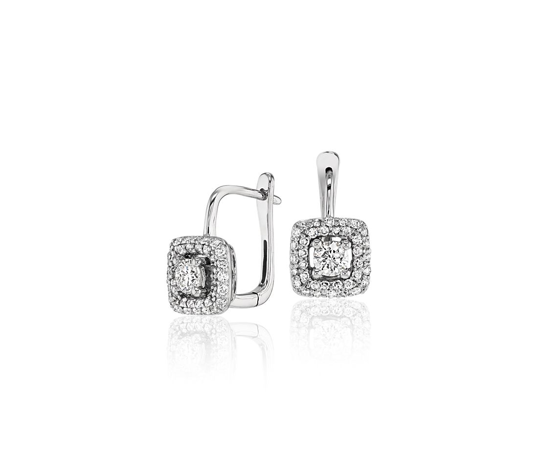 Diamond Halo Earrings in 14k White Gold (3/5 ct. tw.)