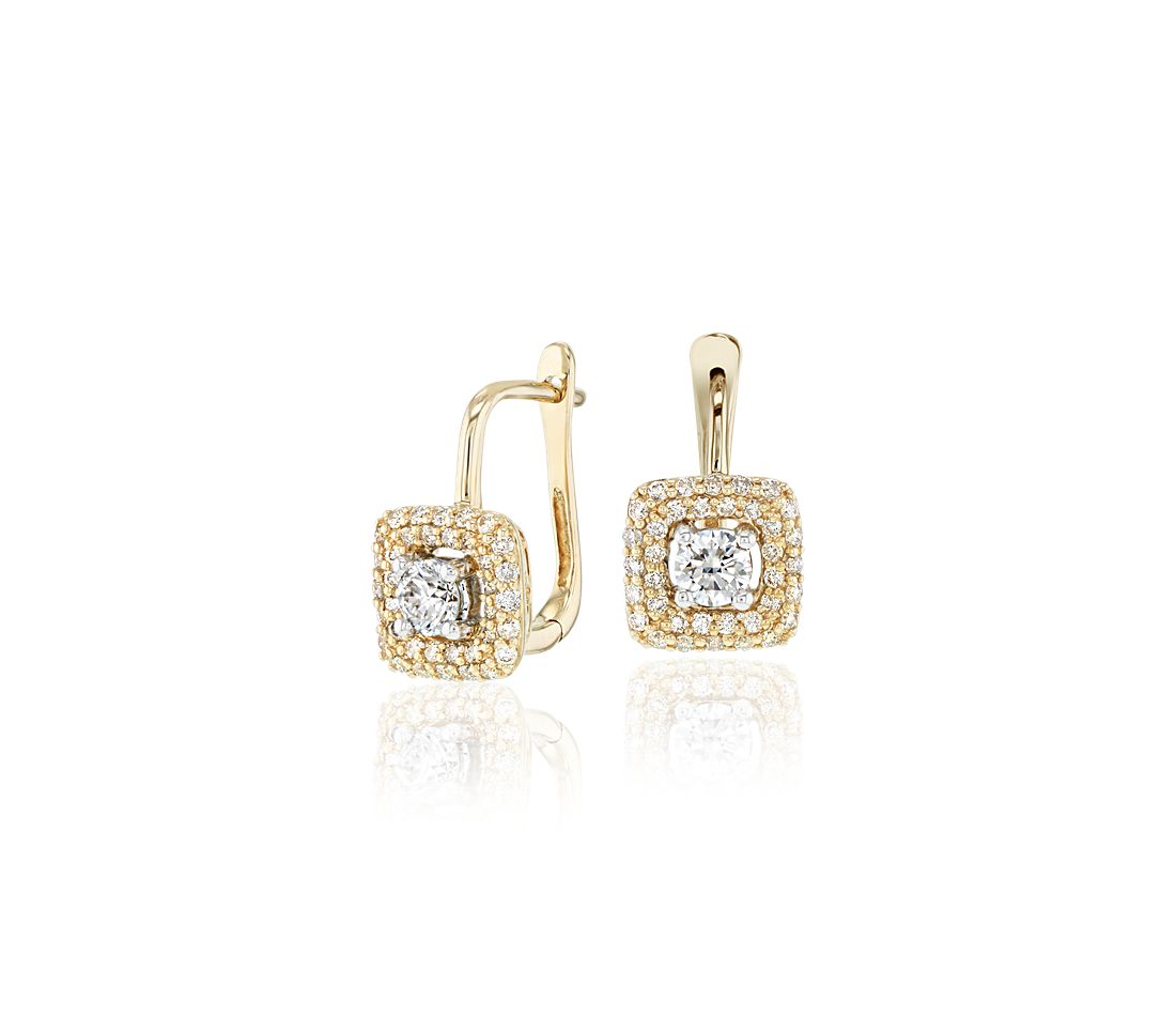Diamond Halo Earrings in 14k Yellow Gold (3/5 ct. tw.)