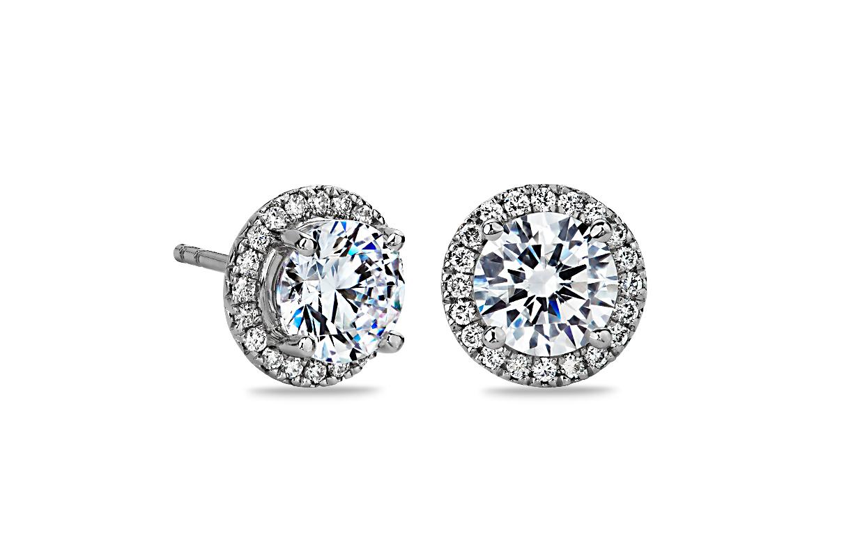 Halo Diamond Earring Setting in Platinum