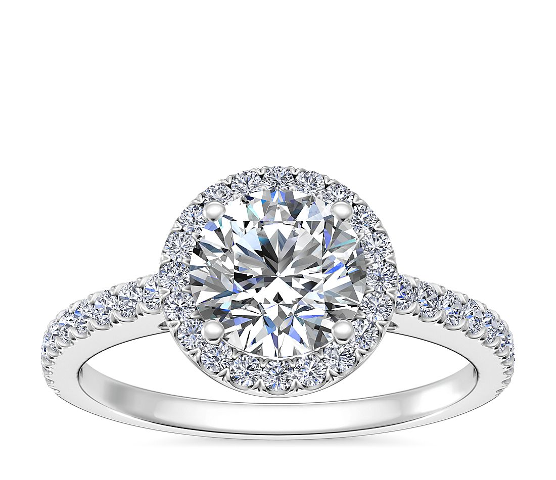 Classic Halo Diamond Engagement Ring in 14k White Gold (1 ...