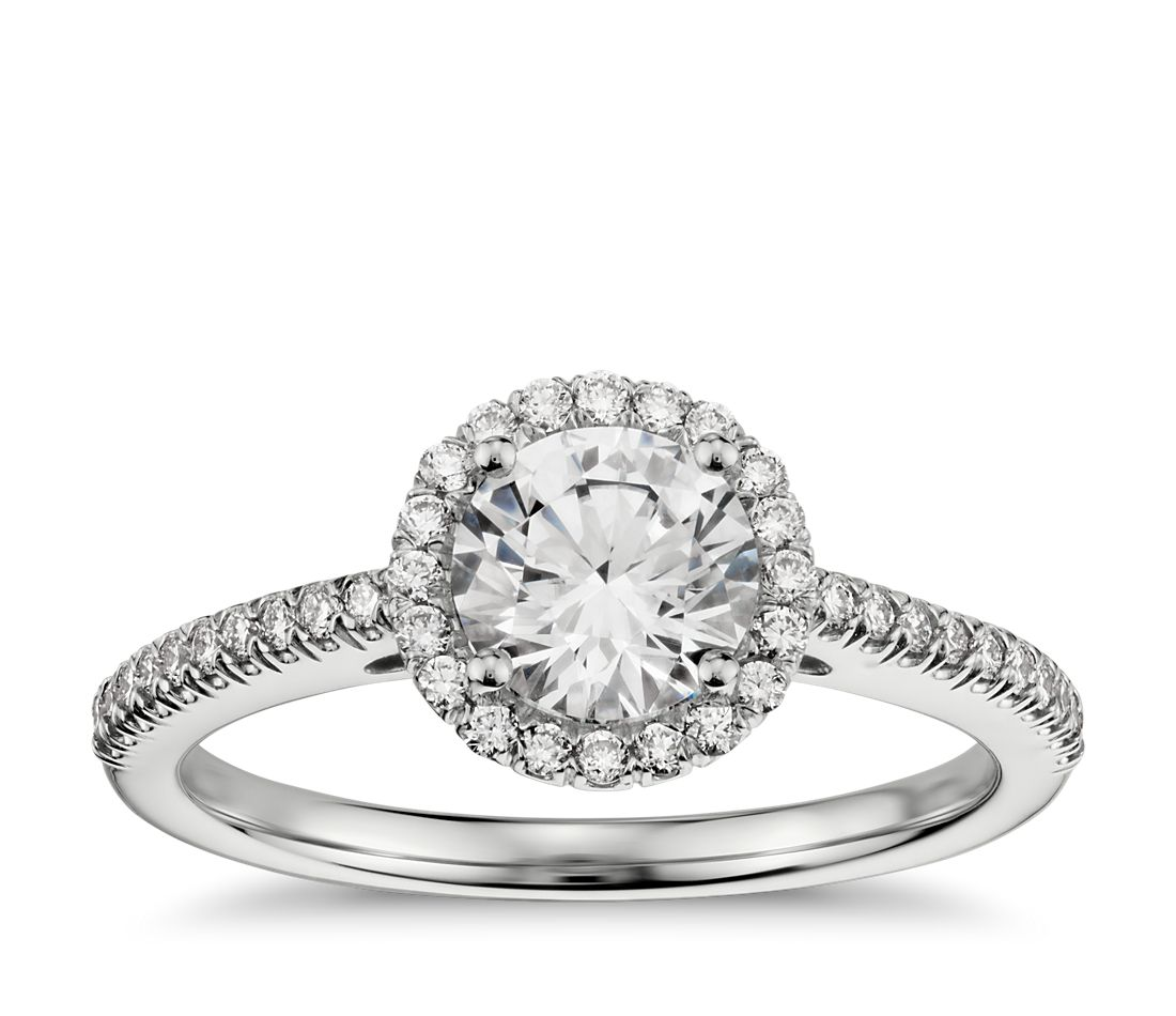Classic Halo Diamond Engagement Ring in 14k White Gold (1/4 ct. tw.)