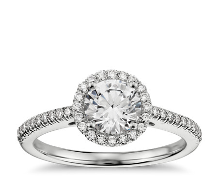 Clic Halo Diamond Engagement Ring In 14k White Gold 1 4 Ct Tw