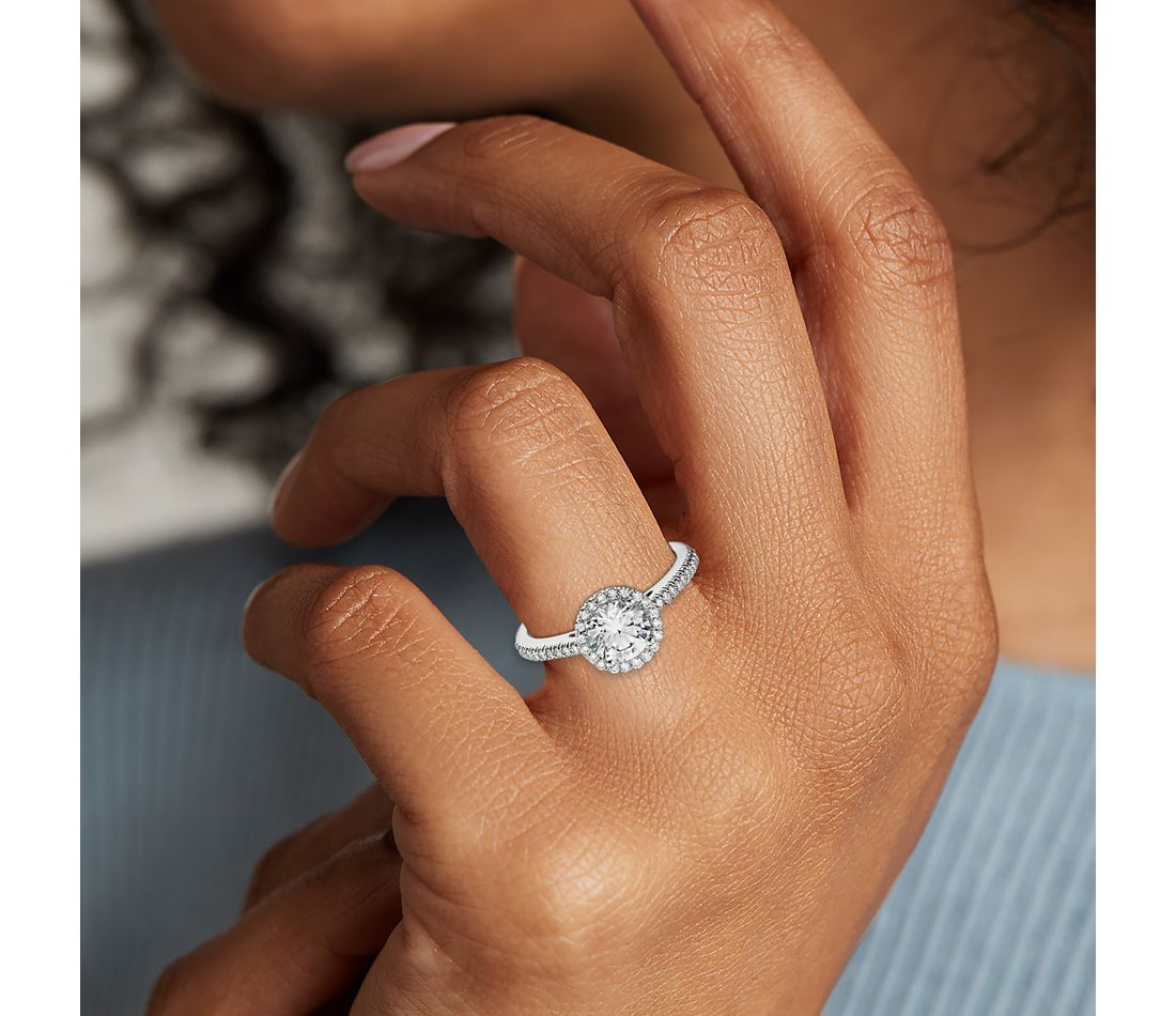 Classic Halo Diamond Engagement Ring in 14k White Gold (1 4 ct. tw ... 51b0bce57a29