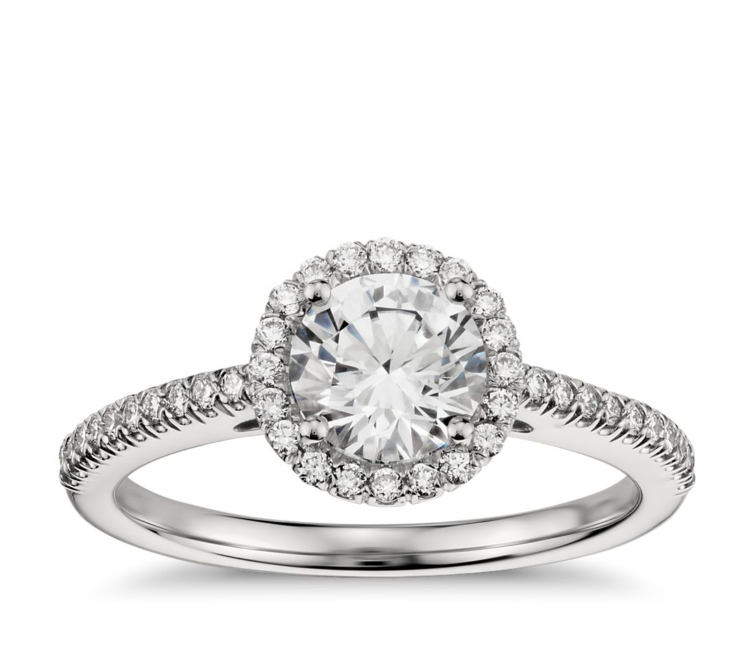 classic halo diamond engagement ring in platinum - Halo Wedding Ring
