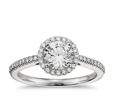Classic Halo Diamond Engagement Ring in Platinum (1/4 ct. tw.)