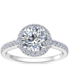 Classic Halo Diamond Engagement Ring in Platinum