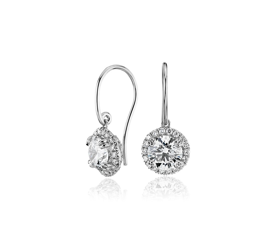 Diamond Halo French Pavé Drop Earring Setting In Platinum
