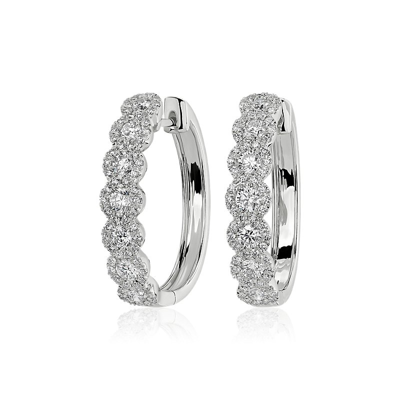 Diamond Halo Hoop Earrings in 14k White Gold (1 1/2 ct. tw.)