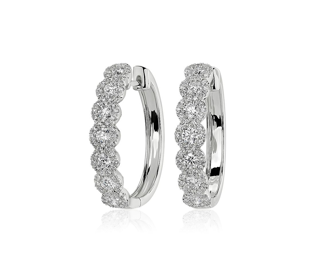 Diamond Halo Hoop Earrings in 14k White Gold (1 1/2 ct. tw.)