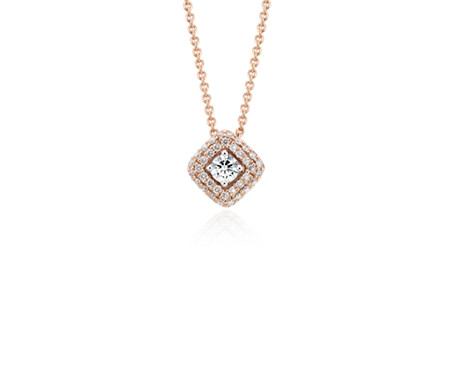 Diamond Halo Pendant in 14k Rose Gold (1/2 ct. tw.)