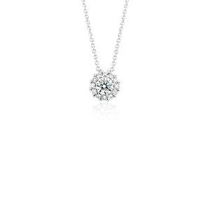 NOUVEAU Pendentif diamant halo en or blanc 14carats (1/2carat, poids total)