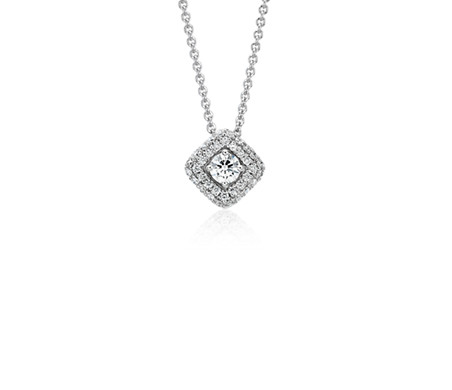 Diamond Halo Pendant in 14k White Gold (1/2 ct. tw.)