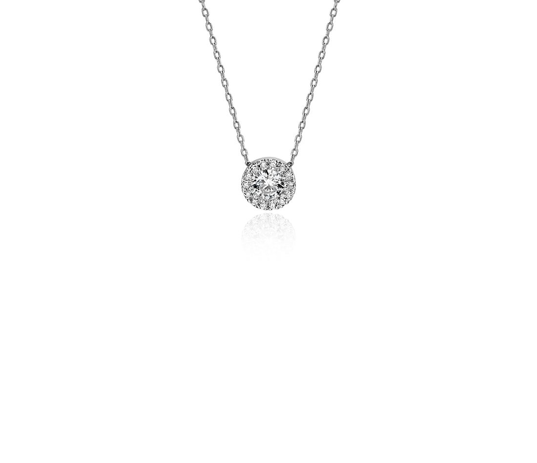 Medium Diamond Halo Pendant in 14k White Gold
