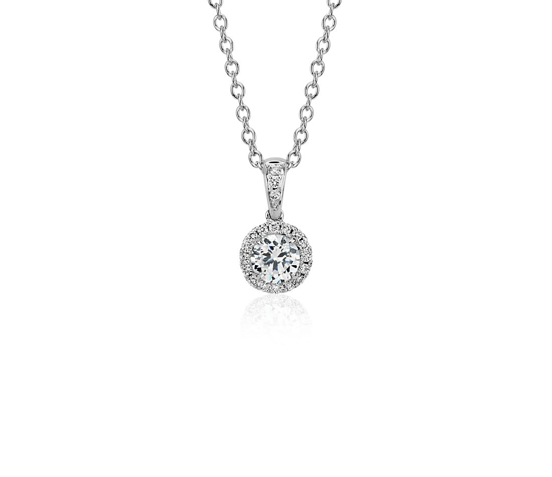 Halo diamond pendant setting in 14k white gold blue nile halo diamond pendant setting in 14k white gold aloadofball Gallery