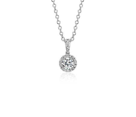 Halo Diamond Pendant Setting in 14k White Gold