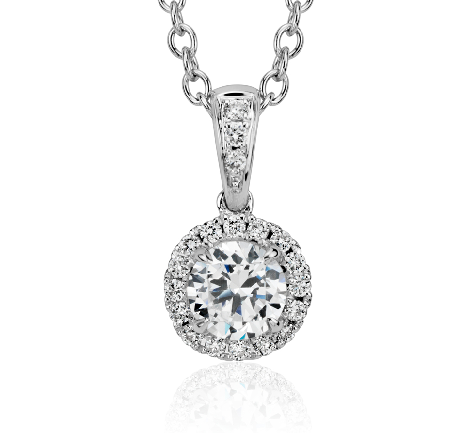 Montura para colgante con halo de diamantes en oro blanco de 14 k
