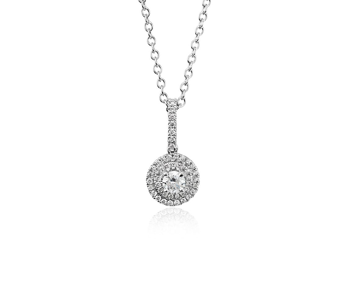 Monture de pendentif double halo diamant en or blanc 18 carats (pour un diamant central de 0,5 ct)