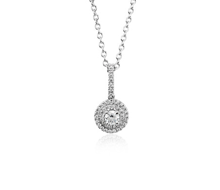 Monture de pendentif double halo diamant en or blanc 18 carats (pour un diamant central de 0,25 ct)