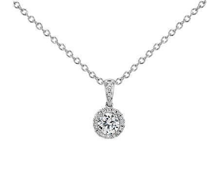 Montura para colgante con halo de diamantes en platino