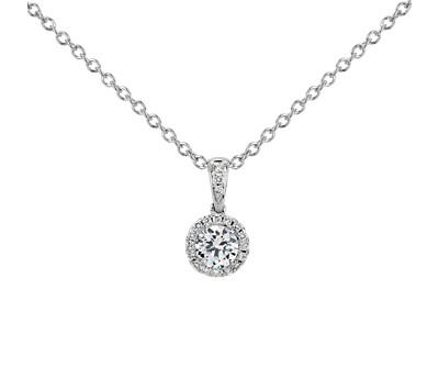 Halo Diamond Pendant Setting in Platinum