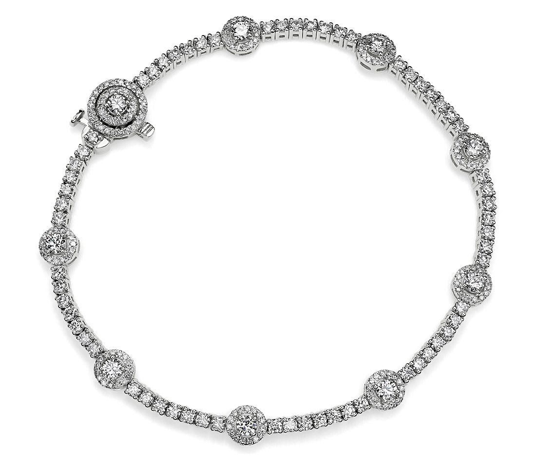 Diamond Halo Station Tennis Bracelet in 14k White Gold (3.07 ct. tw.)
