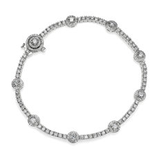 NEW Diamond Halo Station Tennis Bracelet in 14k White Gold (2 7/8 ct. tw.)
