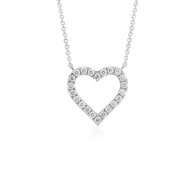 Diamond Heart Necklace in 14k White Gold 12 ct tw Blue Nile