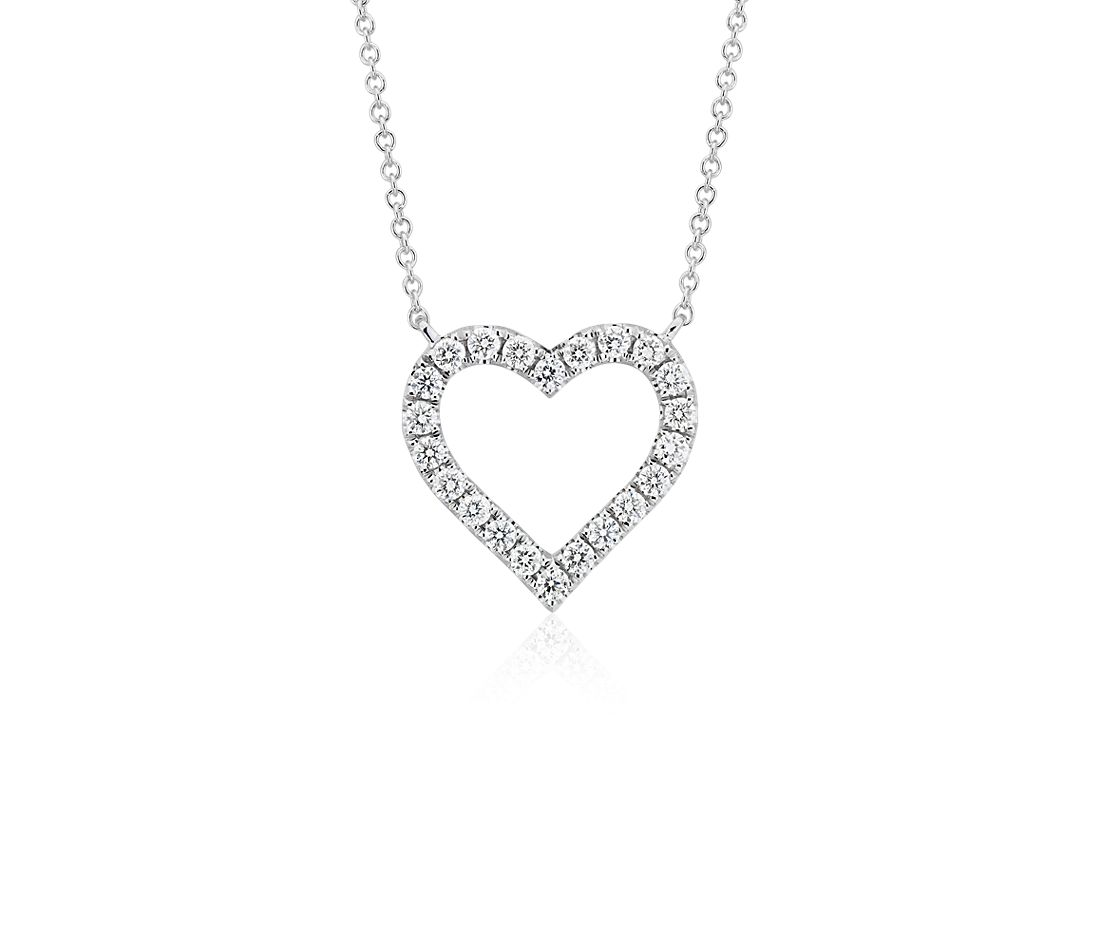 Diamond Heart Necklace in 14k White Gold (1/2 ct. tw.)