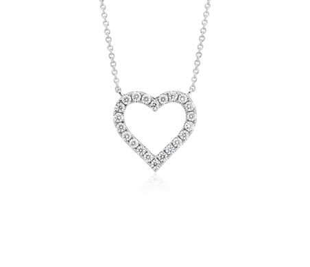 Blue Nile Diamond Heart Pendant in 14k White Gold (1/5 ct. tw.) DGnZzFZ