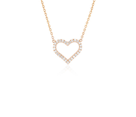 Diamond Heart Pendant in 14k Rose Gold
