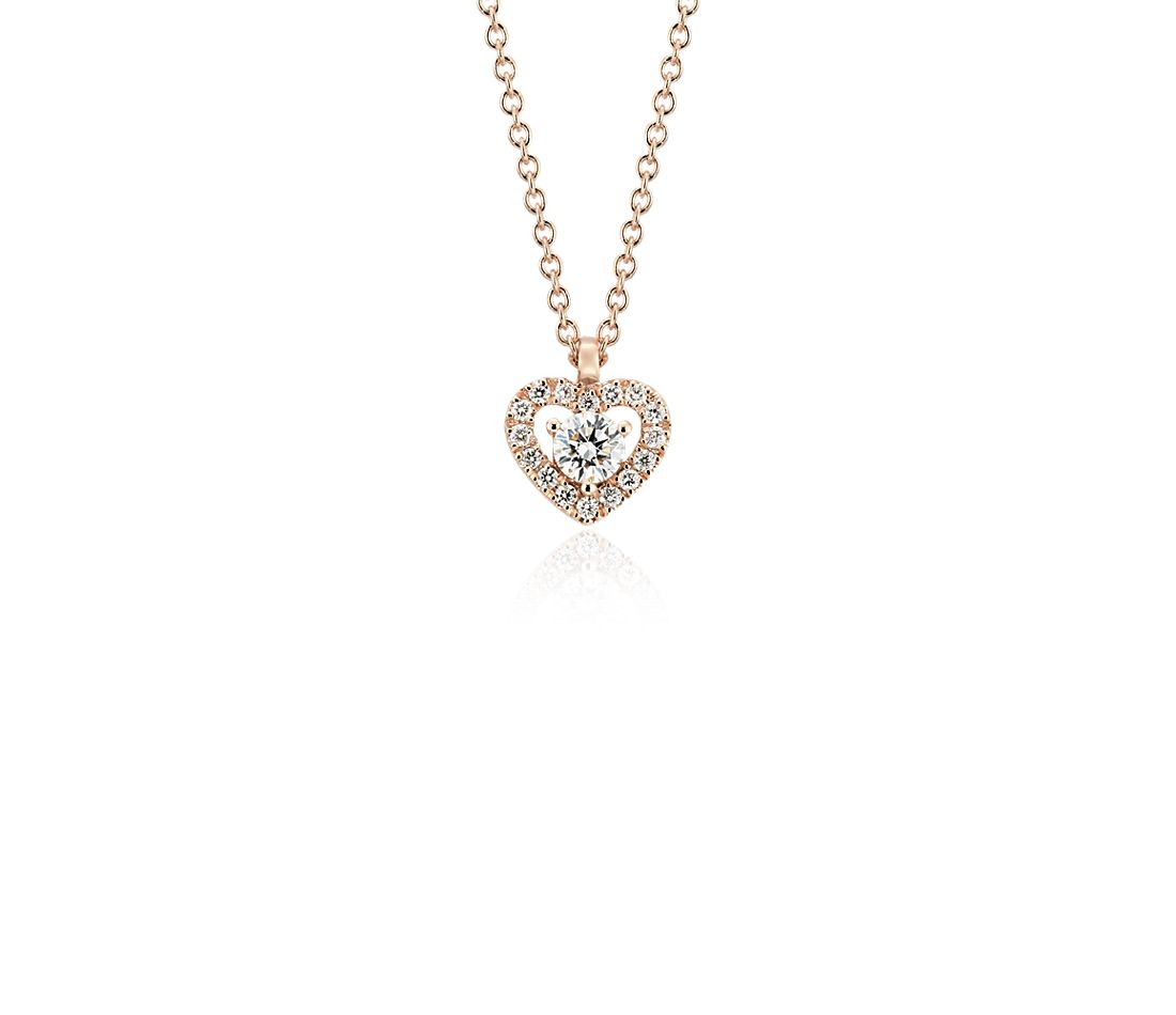 Petite Diamond Pavé Heart Pendant in 14k Rose Gold