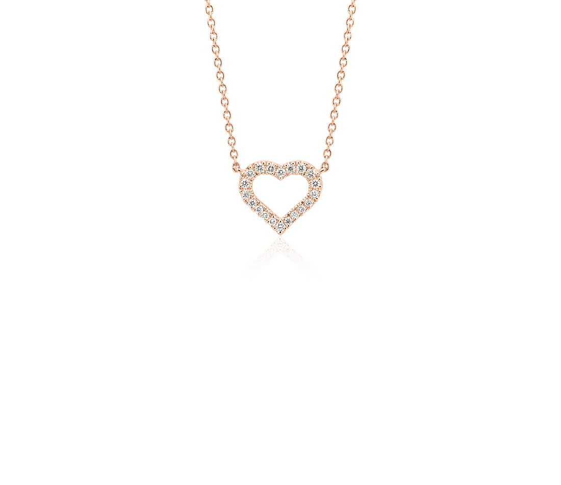 Mini Heart Diamond Pendant in 14k Rose Gold