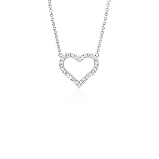 Blue Nile Diamond Heart Pendant in 14k White Gold (1/5 ct. tw.) WJU9NsApsh