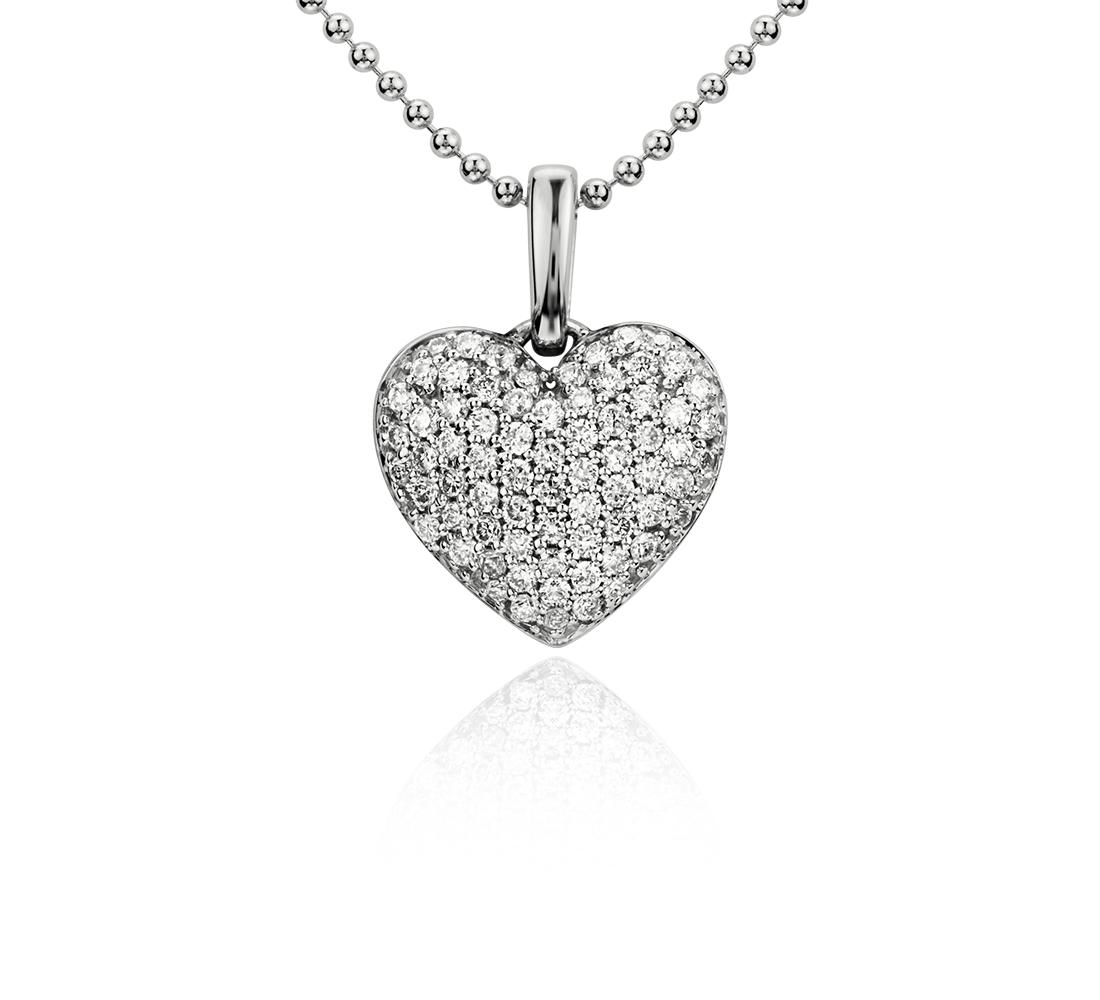 Pendentif cœur diamant en or blanc 14carats (1/4carat, poids total)