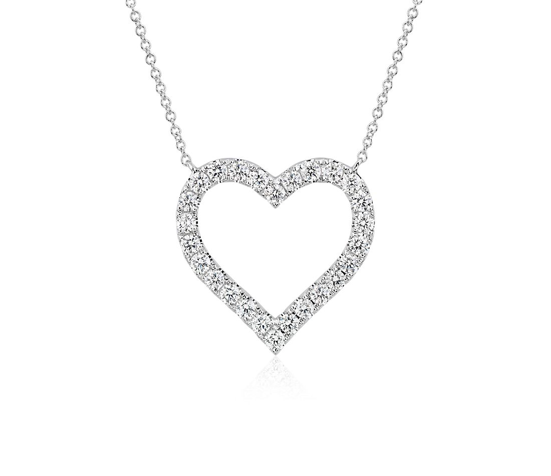 Diamond Heart Necklace in 14k White Gold (1 ct. tw.)
